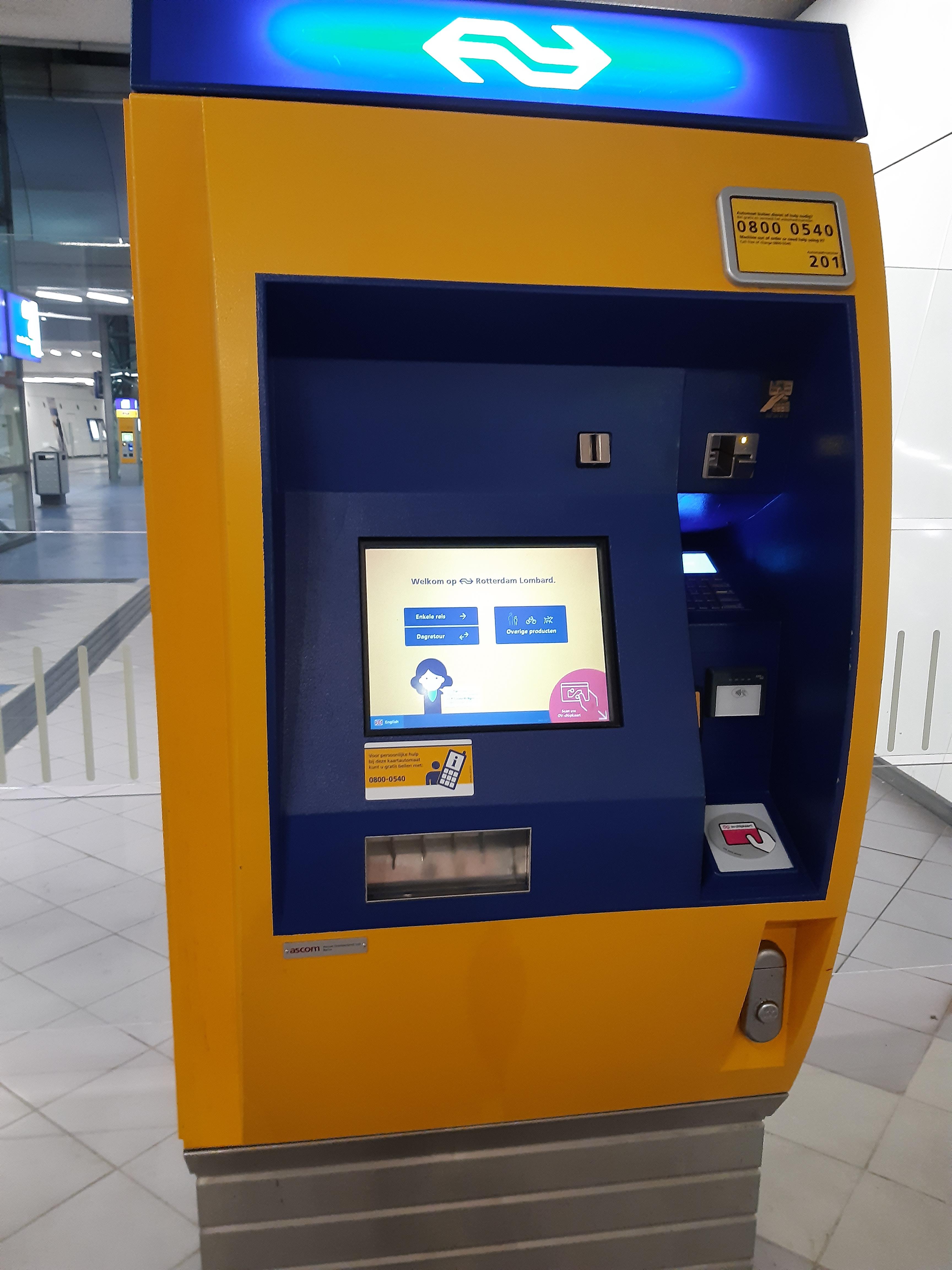Dutch public transport ticket machine