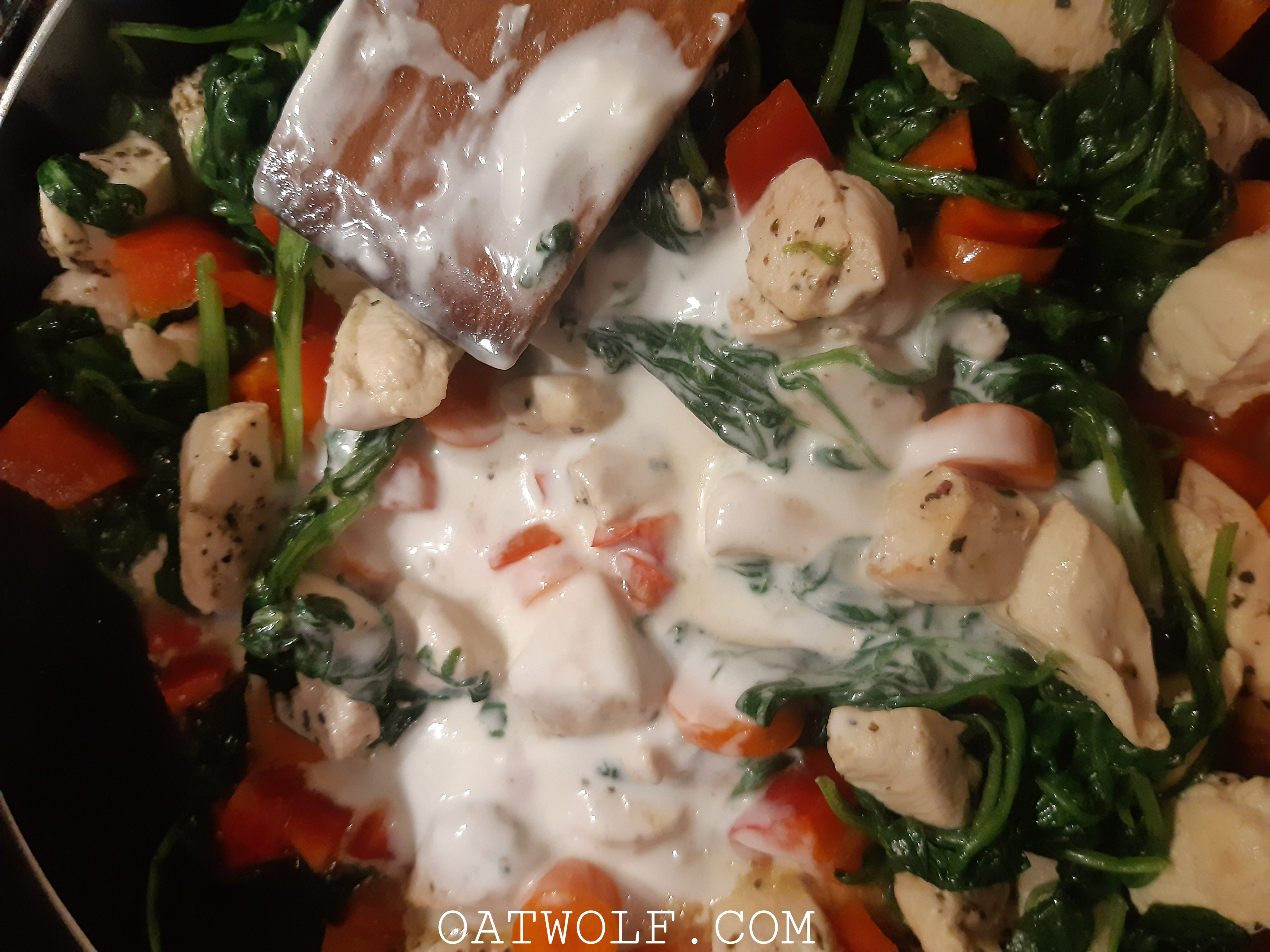 Pasta with chicken and spinach recipe