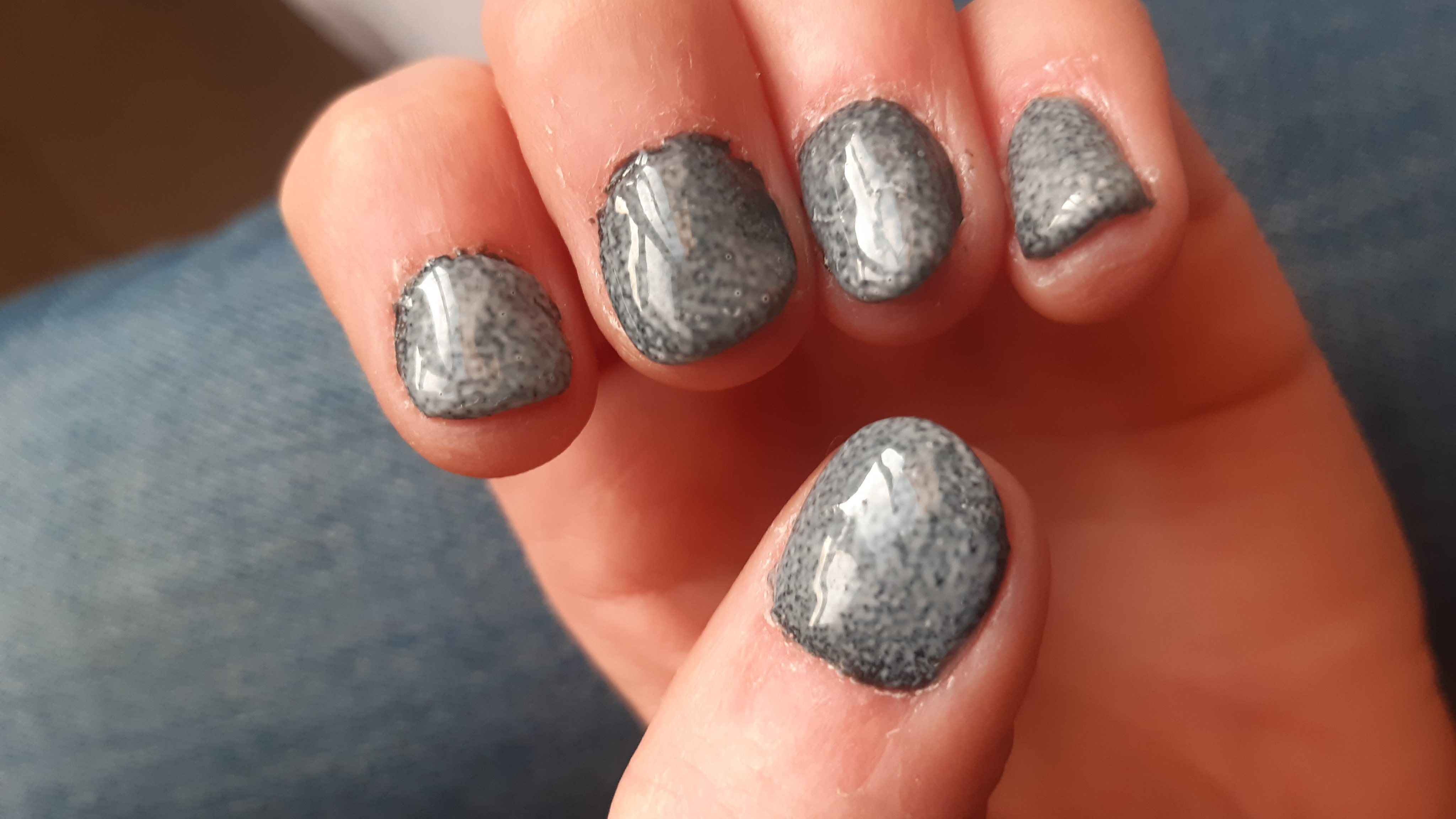 Grey Marble Gel Nails